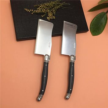 Set of 2 Mini Cleaver Style Chopping Knives Prep kitchen knife Laguiole Cheese Hatchet Stainless Steel Blade PP Handle