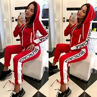 Balenciaga Tide brand women's fashion hooded sports and leisure suit two-piece red