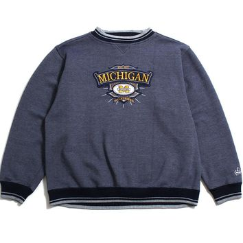 University of Michigan Embroidered Bar M Crest Midwest Embroidery Crewneck Sweatshirt Heather Navy (XL)
