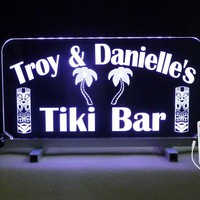 Personalized Tiki Bar Sign, Custom Edge Lit Sign