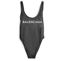 Balenciaga SWIMMER SWIM TAN TOP VEST SHIRT V NECK WOMEN LETTERS BOTTOMING CLOTHES