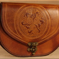 Round Epona (Horse) Pouch in Tan & Chocolate : Renaissance Leather, quality hand-crafted leather goods