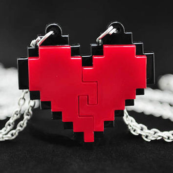 Interlocking Pixel Heart Friendship Necklace for Gamers Zelda 8 Bit