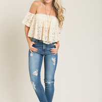 Nessa Cream Lace Crop Top