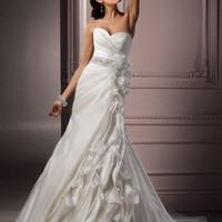 Ivory Organza Ruffled Strapless Sweetheart Antonia Wedding Gown - Unique Vintage - Cocktail, Evening & Pinup Dresses