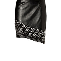 Anthony Vaccarello - Leather Embellished Skirt in Black