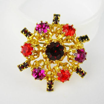 "Austrian Rhinestone Brooch, Multi-color Red Orange Fuchsia Prong-set Stones in Goldtone Openwork Setting, Vintage Jewelry 1.5"" Pin, Gift"