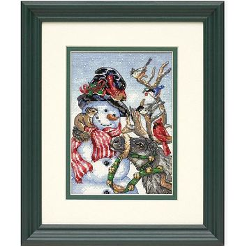 Top Quality Lovely Counted Cross Stitch Kit Snowman and Reindeer Birds Winter Snow dim 08824