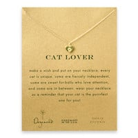cat lover best friend heart paw necklace, gold dipped