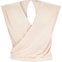 River Island Womens Beige sleeveless wrap crop top
