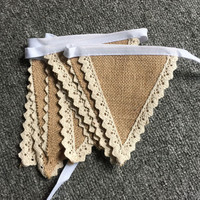 New 2m Vintage Lace Bunting Rustic Hessian Burlap Banner Wedding party Photography Props Decoration Banner 8 Flags