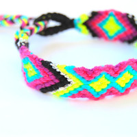 Bright Neon Handwoven Friendship Bracelet Aztec . Black Tie - Silver