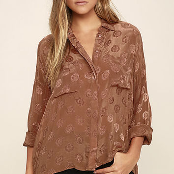 Amuse Society Tahara Brown Button-Up Top