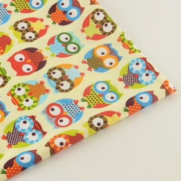 Quilting Patchwork Bedding Decoration Sewing Twill Scrapbooking Home Textile 100% Cotton Yellow Fabric Cartoon Owls Design Tela