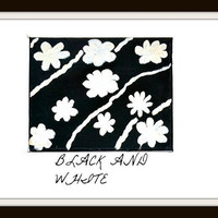 Painting Abstract White Acrylic Flowing Flowers On Black Background