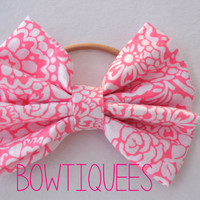 Pink Floral Bow Floral Hair Tie Pink Bow Pony Tail by bowtiquees