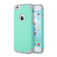 ULAK Heavy Duty Shockproof Case for Apple iPhone 6s 4.7 inch (2015) / iPhone 6 4.7 inch (2014) 2-Piece Style Hybrid Hard Cover (Turquoise/Grey)