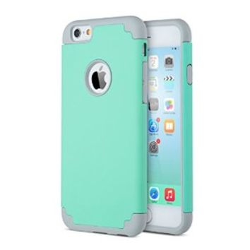 iPhone 6 Case, iPhone 6S Case, ULAK Slim Dual Layer Protective Case with Outer Hard PC Shell and Interior Soft Silicone Cover for Apple iPhone 6/6S 4.7 inch Cellphone (Turquoise/Grey)