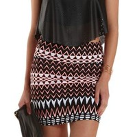 Black Combo Geometric Print Bodycon Mini Skirt by Charlotte Russe