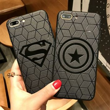 Marvel  Superhero Superman Batman Ironman Captain America Silicone soft Phone Case Cover For Iphone X 10 7 8 Plus 6 6sPlus Funda