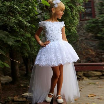 Girl Party Gown White Lace Princess Girls Pageant Dress 2017 Long Back Short Front Flower Girl Dress For Weddings Ball Gown