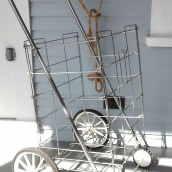 Vintage Folding Wire Metal Pull Cart, Shopping Grocery Cart, Laundry Basket or Display Basket