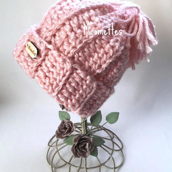Chloe Olympic Inspired Handmade Beanie Chunky Pom Pom Hat Pink Nordic Wood Button Crochet