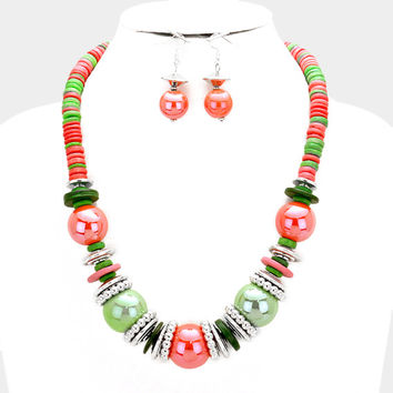 Chunky Green & Pink Silver Bead wood disc cluster bib necklace and earring set