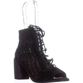 Vince Camuto Trevan Cutout Lace Up Ankle Boots, Black, 6.5 US / 36.5 EU