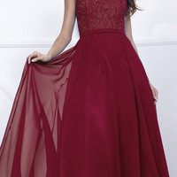 Burgundy Cap Sleeves Lace Bodice Chiffon A-line Long Formal Dress
