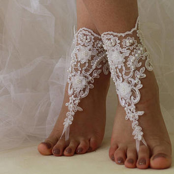 Beach Wedding Barefoot Sandals, White Lace Shoes,Wedding Lace Anklet,NudeShoes, Foot Jewelry,Beach Wedding Barefoot,Bridal Anklet,Shoes