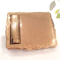 Lipstick Powder Compact, Combined Mirror Compact, Stratton Empress Compact, Handbag Accessory, Gold, Dressing Table, Makeup Case  - 1950s