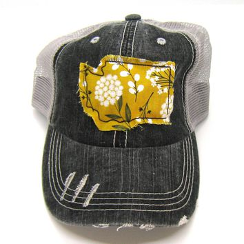 Black and Gray Distressed Trucker Hat - Mustard Yellow Floral Applique - Washington - All United States Available