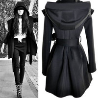 Punk Sorcerer Hooded Big Hat Strappy Windbreaker Coat
