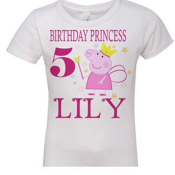 PEPPA PIG PRINCESS BIRTHDAY $10 FAMILY SHIRT,