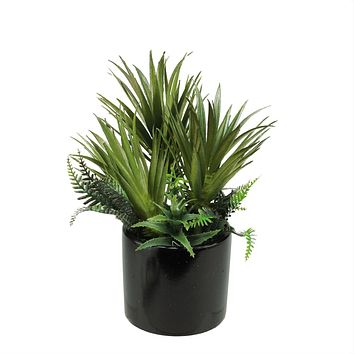 "9.75"" Artificial Mixed Green Succulent Plants and Ferns in a Decorative Black Pot"