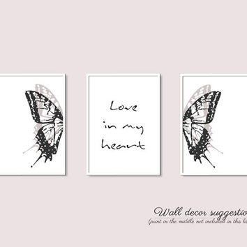 Print set, Wall decor set A4 posters A3 posters, Dorm wall decor, Living room wall art, Bedroom print, Trendy home decor, Wall art butterfly