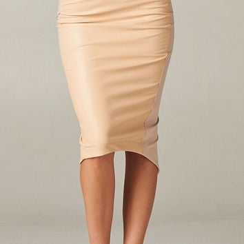 Two Tone Faux Leather Pencil Skirt
