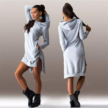 Sling Long Sleeve College Style Hoodie Dress