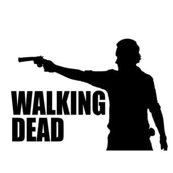 Rick Grimes Gun The Walking Dead Logo Vinyl Sticker Decal For Car
