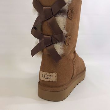 Women's Shoes UGG Bailey Bow II Boot 1016225 Chestnut *New*