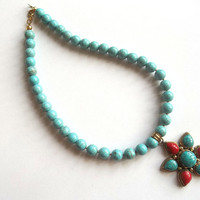 Christmas Gifts , Jewelry , Turquoise Necklace , Turquoise and Coral Necklace , Nepal Jewelry