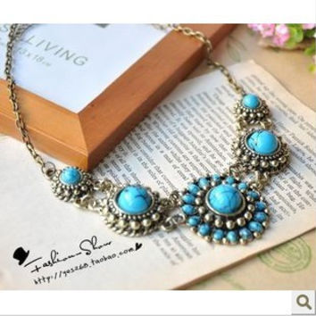 RN-041 Vintage Fashion Jewelry For Women National Wind Sapphire Natural Imitation Gemstone Necklace