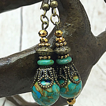 Turquoise Earring - Hippie Earring - Boho Chic - Drop Earring- Bohemian Jewelry - Brass Earring - Gypsy Earring- Dangle Earrings TDC654
