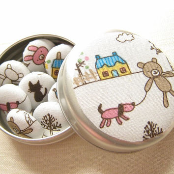 Fridge Magnet Gift Set of 6 - Home House Teddy Bunny Tree Dog Cat - perfect house warming gift.