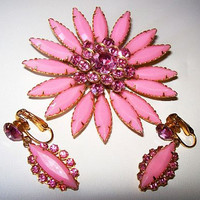 Designer Brooch Earring Set Judy Lee? Pink Givre Rhinestones Flower Design Gold Metal Vintage