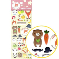 Panda Teddy Bear and Foxes Shaped Puffy Stickers | Cute Animal Inspired Scrapbook Decorating Supplies