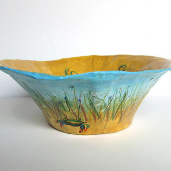 Paper Mache Bowl. Handmade Work Of Art. Blue Crab. Decorative Bowl. Coffee Table Bowl. Beach Scene. Sturdy Paper Bowl. Hand Painted Bowl.
