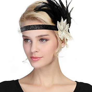 Urban CoCo Womens Vintage 1920s Great Gatsby Flapper Headband Feather Wedding Party Headpiece