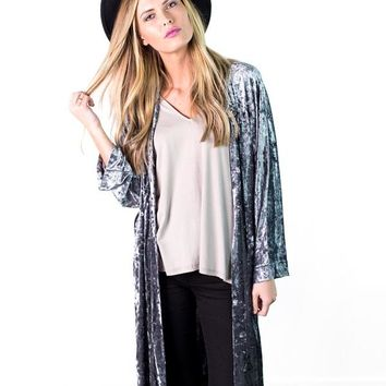 Amaria Crushed Velvet Duster Jacket